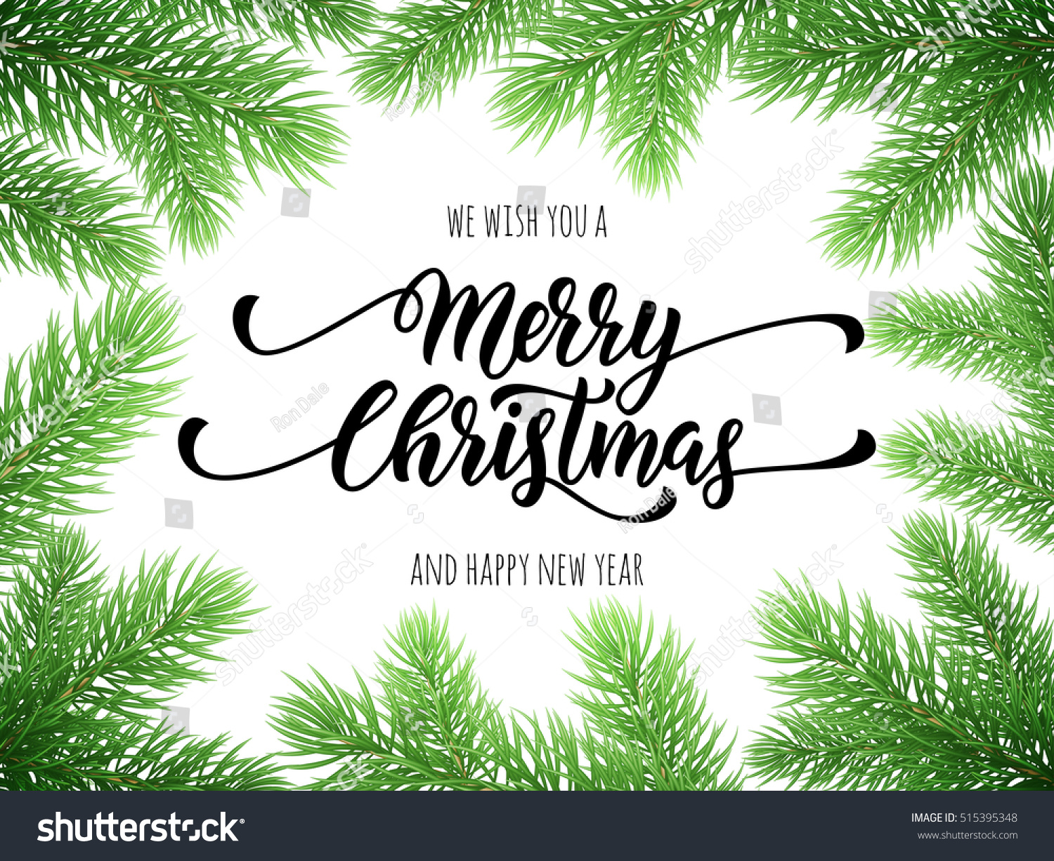 merry christmas happy new year greeting card poster template of pine and fir tree