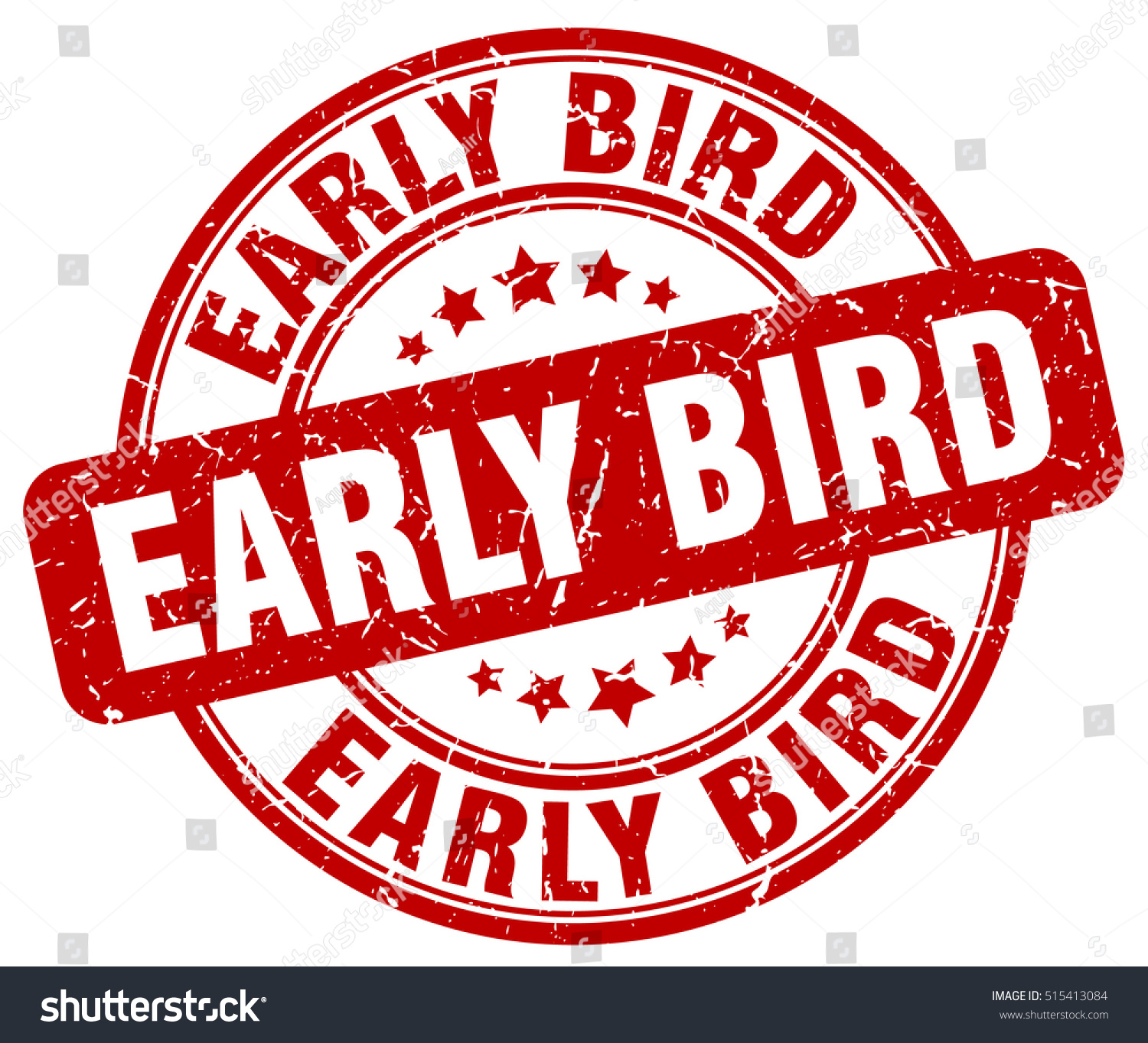 Early Bird Stamp Red Round Early Vectores En Stock