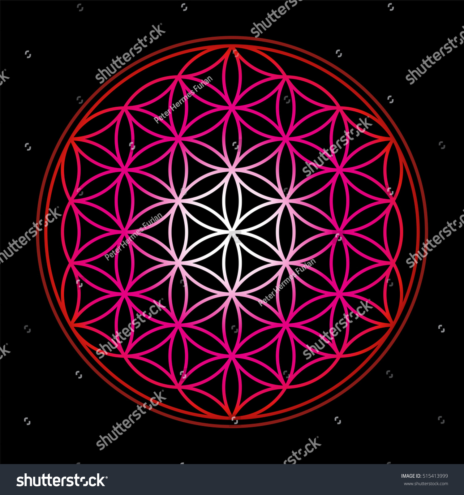Sacred Geometry Ancient Outline Gold Flower Of Life Symbol On A