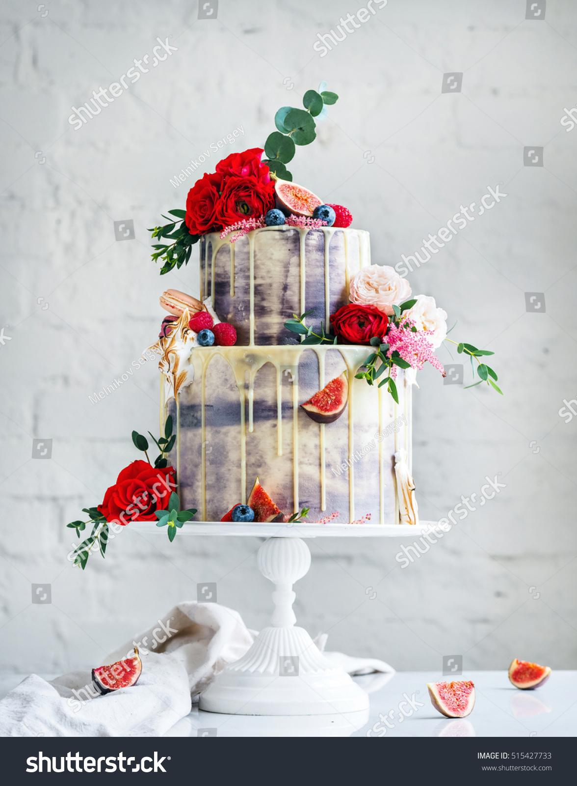 Wedding Cake Flowers Figs Macarons Blueberries Stock Photo (Royalty ...