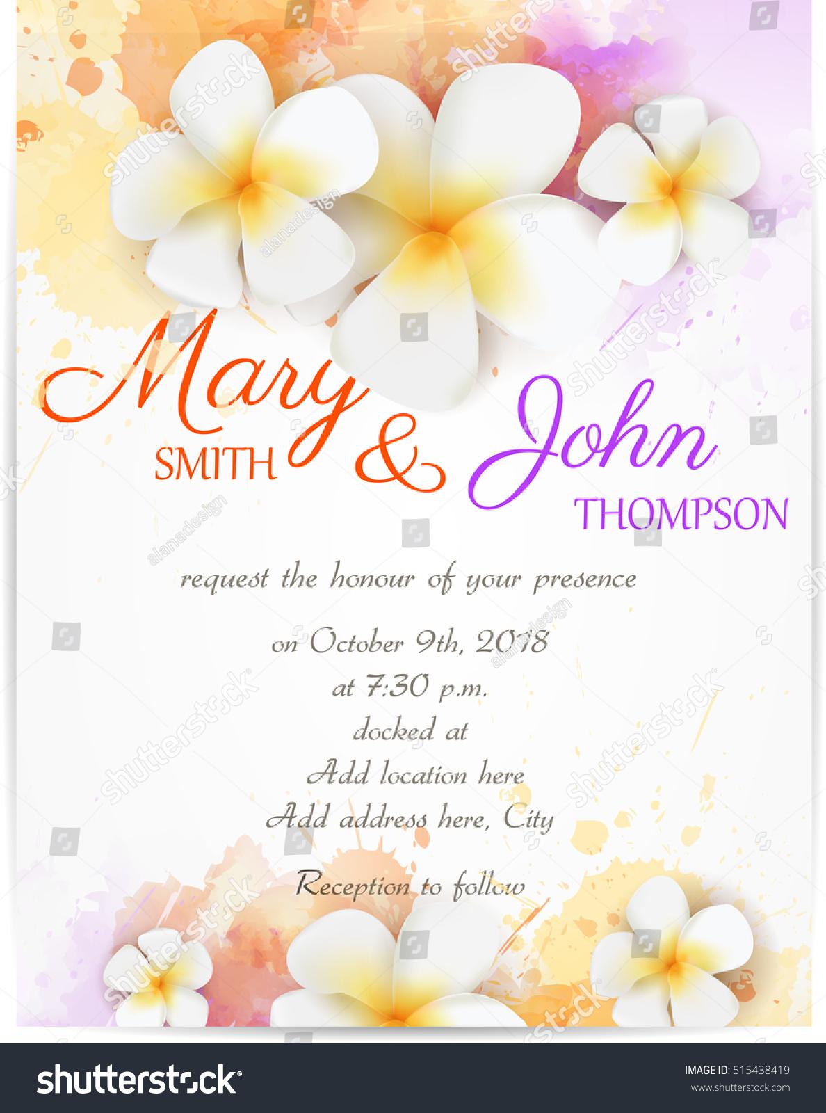 Wedding Invitation Template Plumeria Flowers On Stock Vector ...