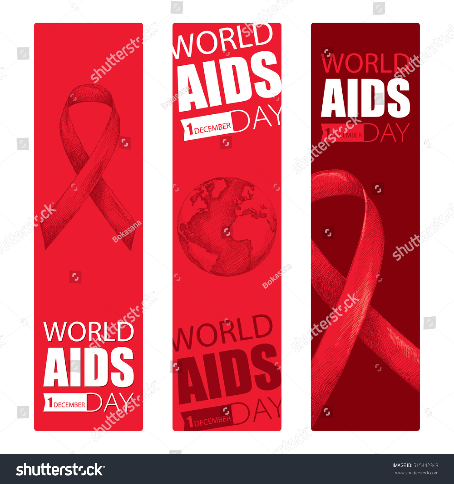 Vector design set vertical banner red vectores en stock 515442343 vector design set with vertical banner with red ribbon and earth planet aids awareness symbols gumiabroncs Choice Image