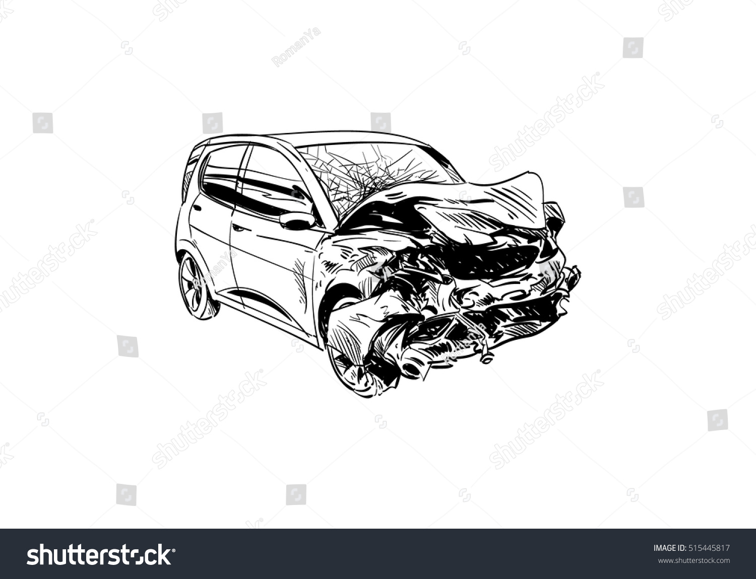 Hand Drawn Car Crash Illustration Auto Stock Vector 515445817 ...