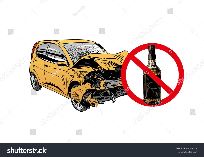 Hand Drawn Drunk Driving Car Crash Stock Vector 515445826 - Shutterstock