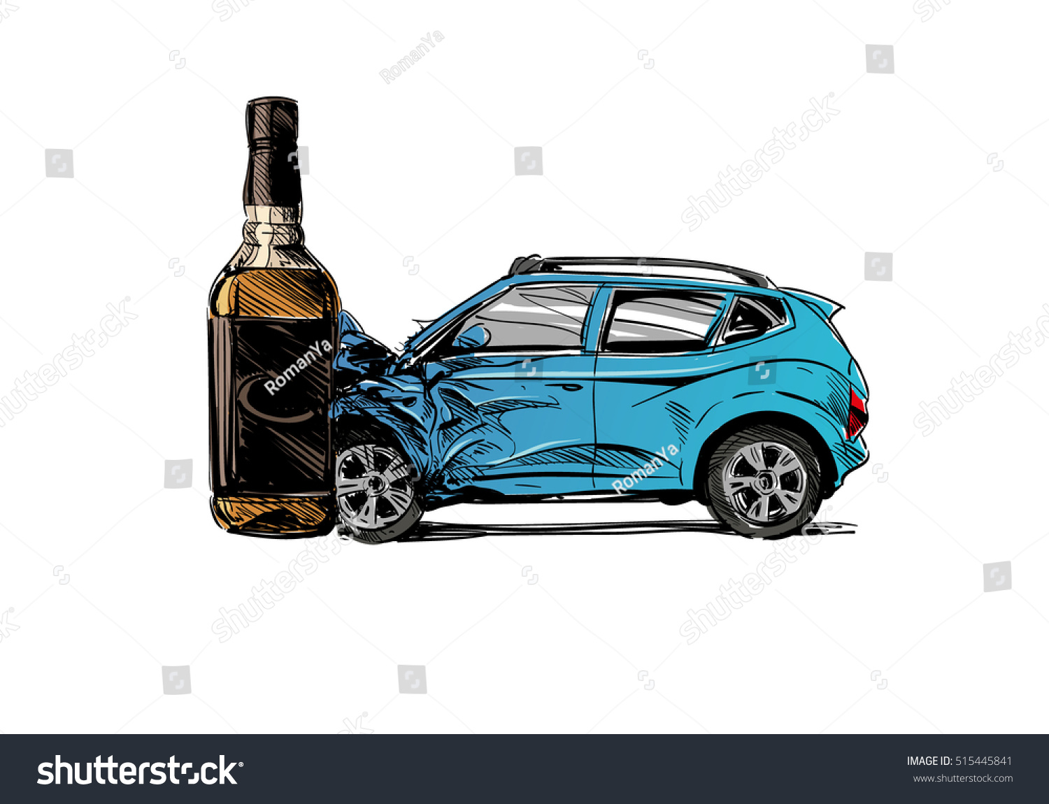 Hand Drawn Drunk Driving Car Crash Stock Vector 515445841 ...