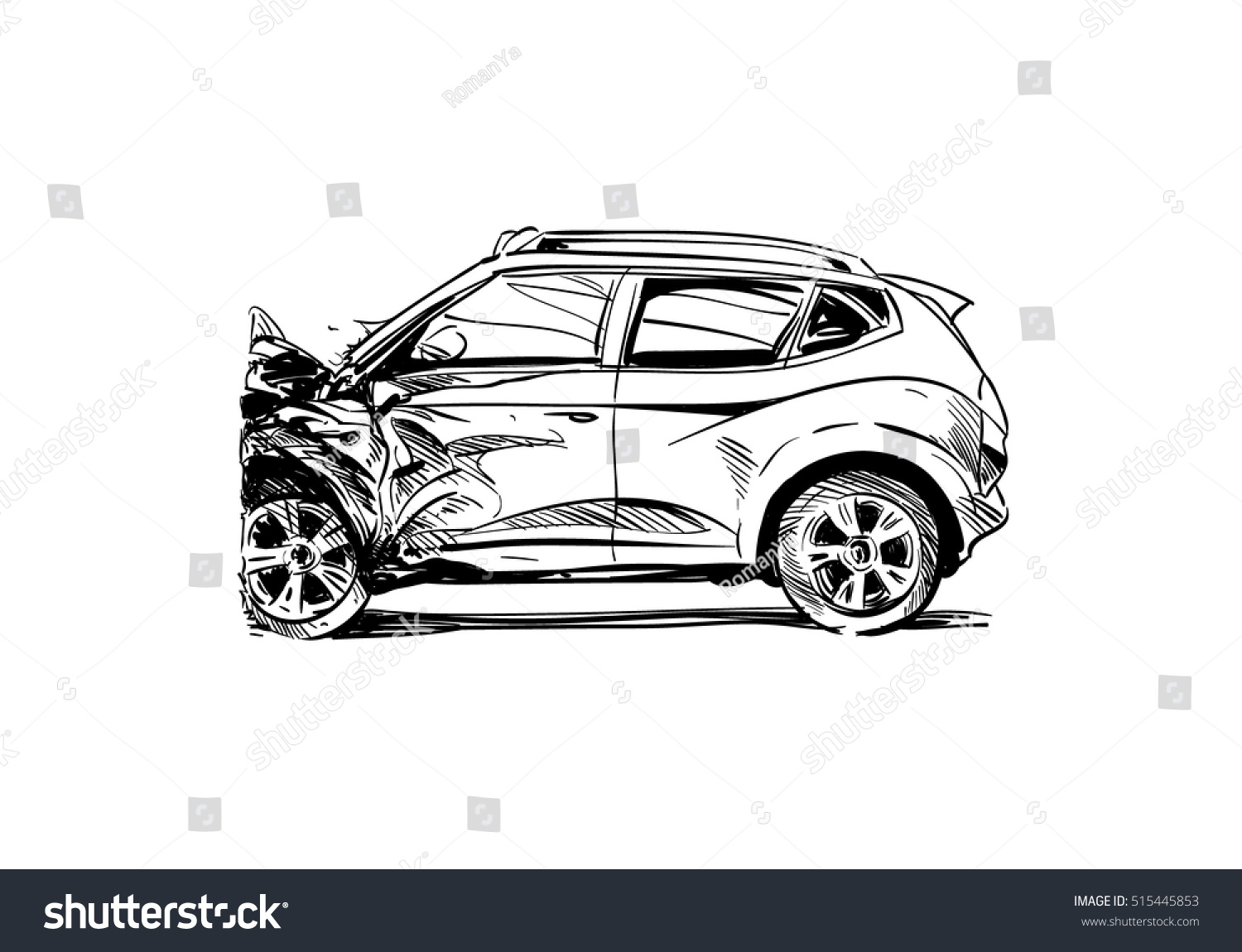 Hand Drawn Car Crash Illustration Auto Stock Vector 515445853 ...