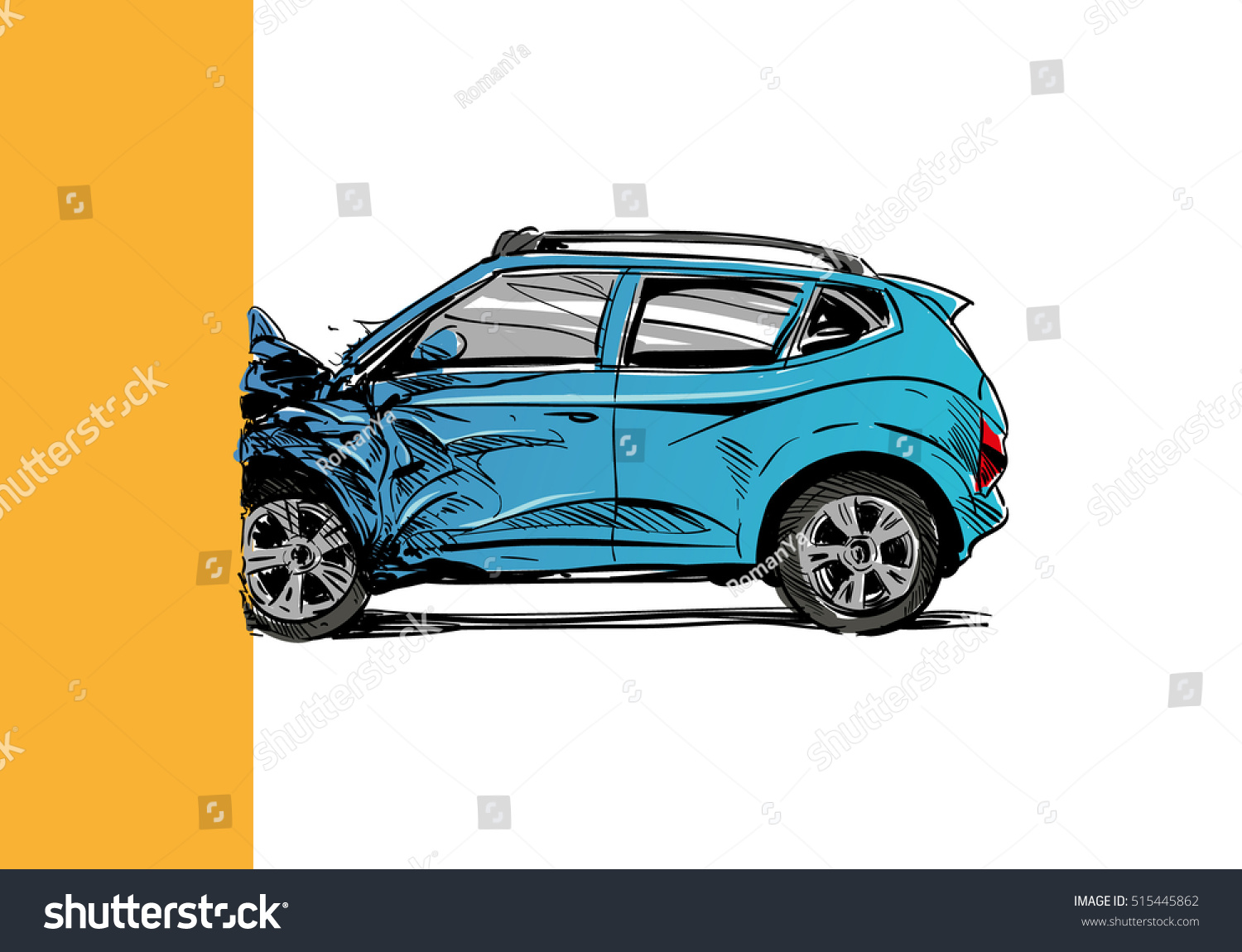 Hand Drawn Car Crash Illustration Auto Stock Vector (Royalty Free ...