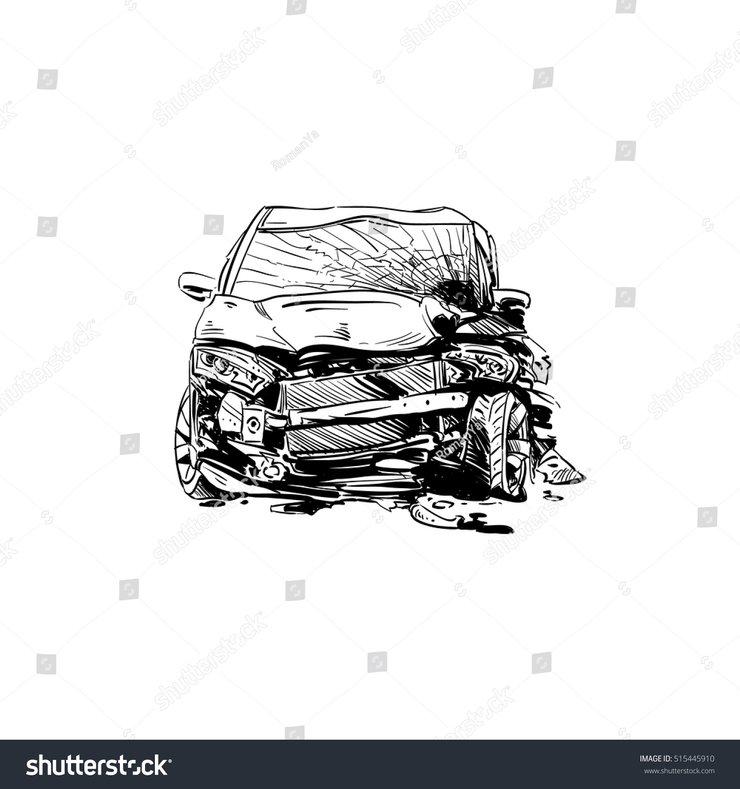 Hand Drawn Car Crash Illustration Auto Stock Vector 515445910 ...