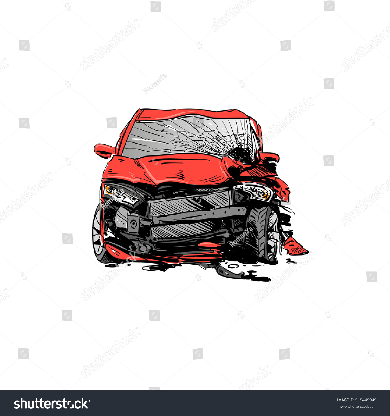 Hand Drawn Car Crash Illustration Auto Stock Vector 515445949 ...