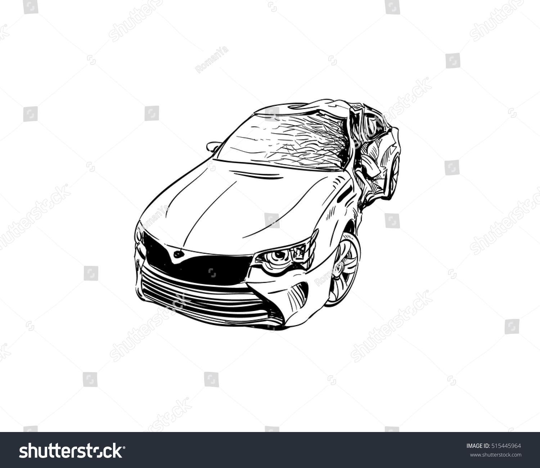 Hand Drawn Car Crash Illustration Auto Stock Vector (2018) 515445964 ...