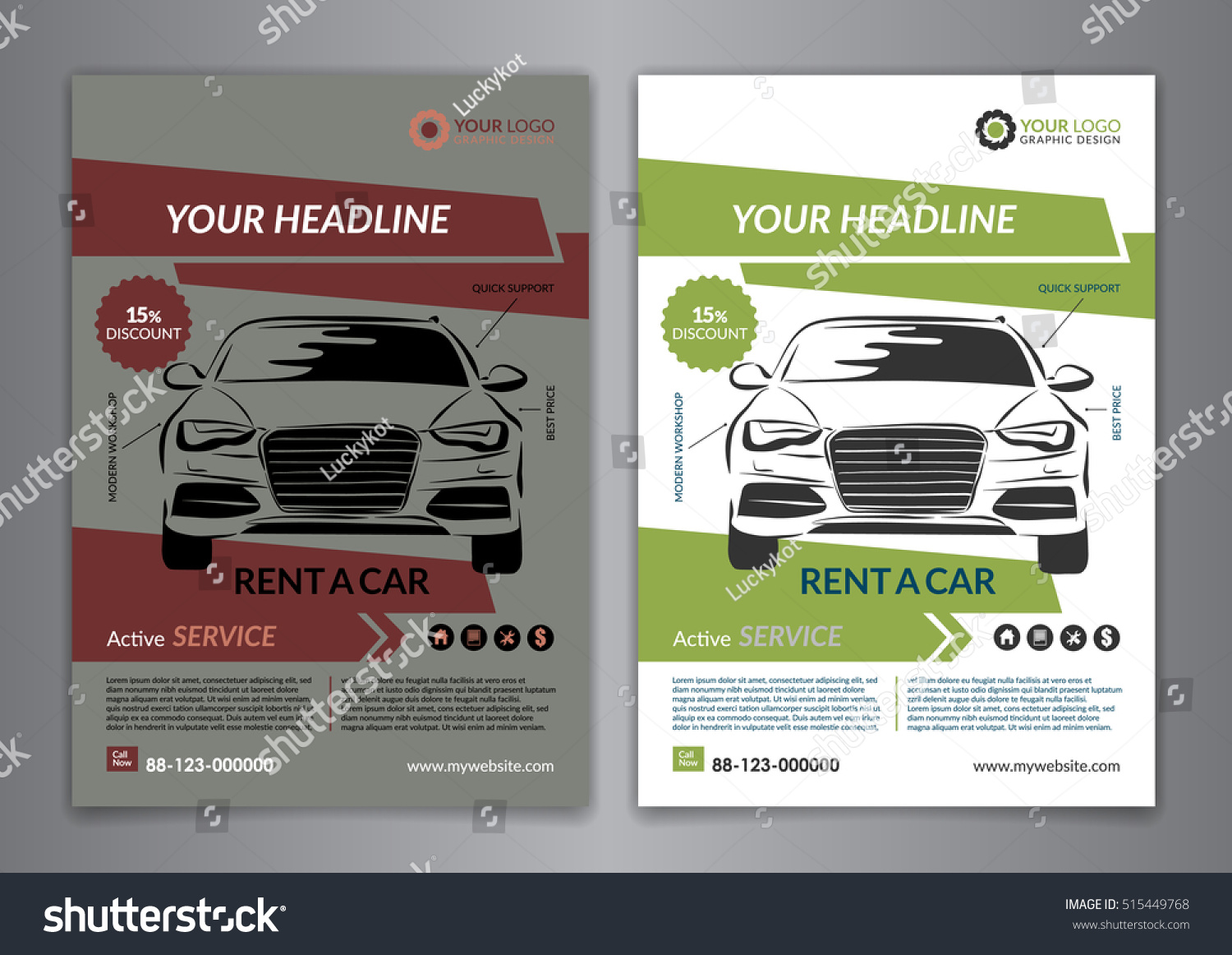 Set A5, A4 Rent A Car Business Flyer Template. Auto Service Brochure  Templates,  Car Ad Template