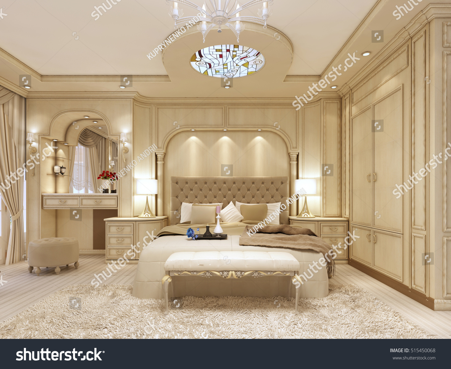 Luxury bed in a large neoclassical bedroom with decorative niche in the  wall  Dressing table. Luxury Bed Large Neoclassical Bedroom Decorative Stock