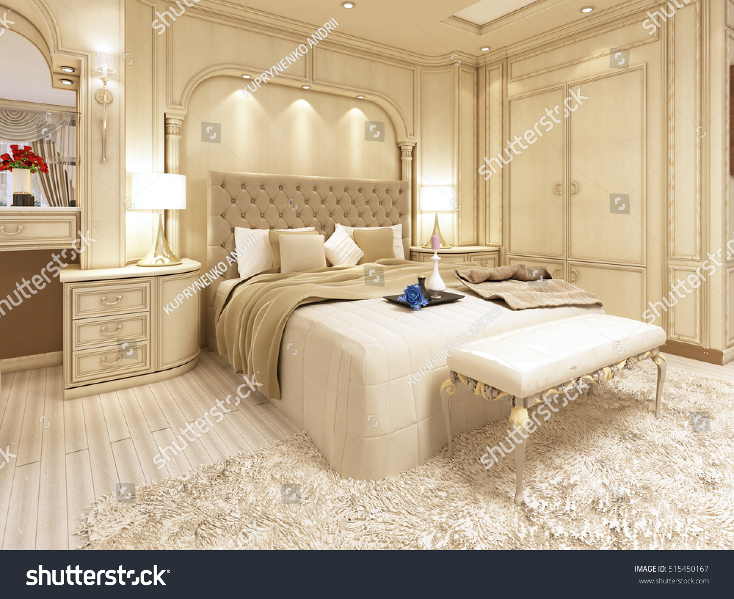 Luxury Bed Large Neoclassical Bedroom Decorative Stock Illustration ...