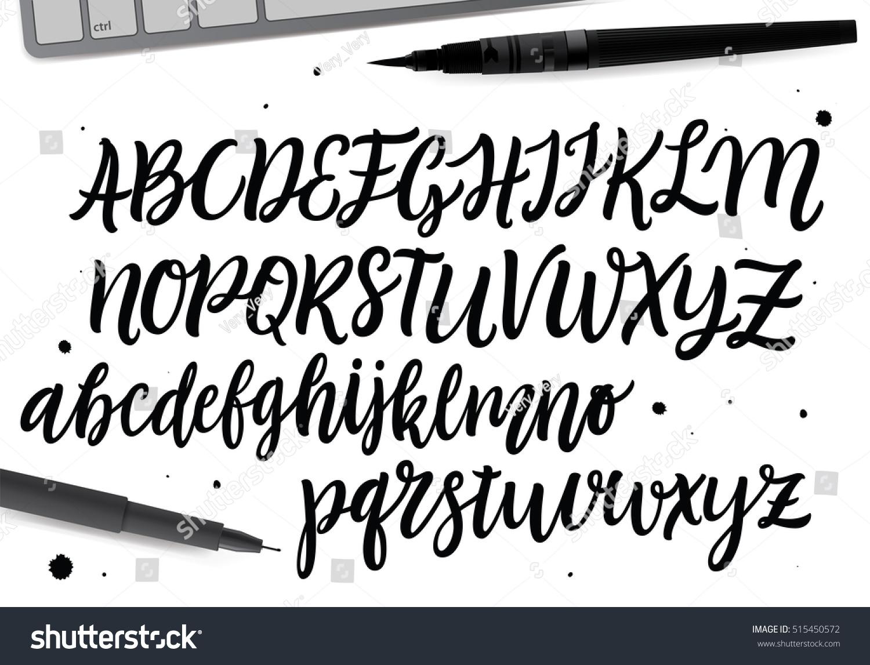 calligraphic vector script font handwritten brush stock vector 515450572 shutterstock