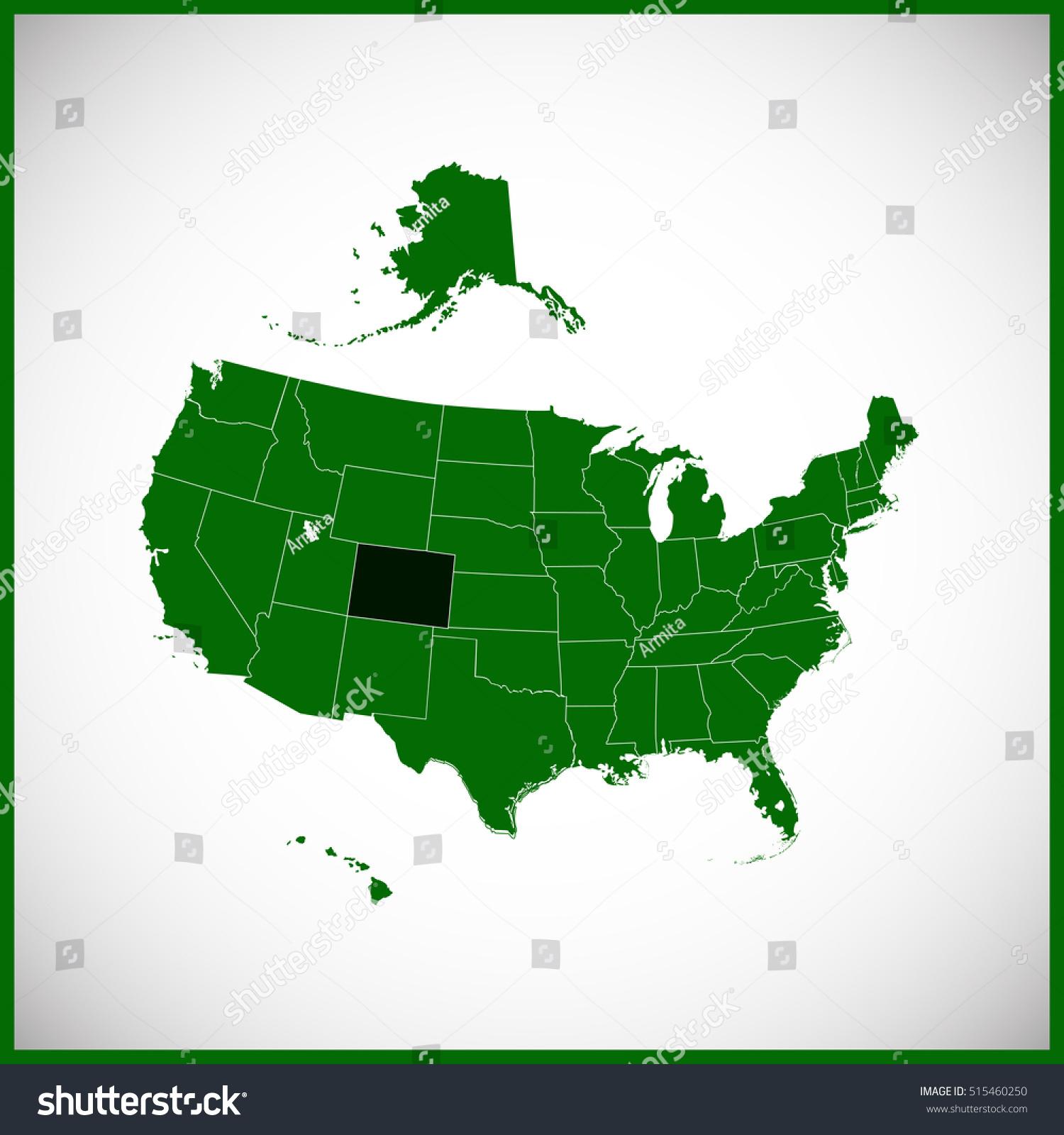 Usa State Colorado Map Stock Vector Shutterstock - Colorado map usa