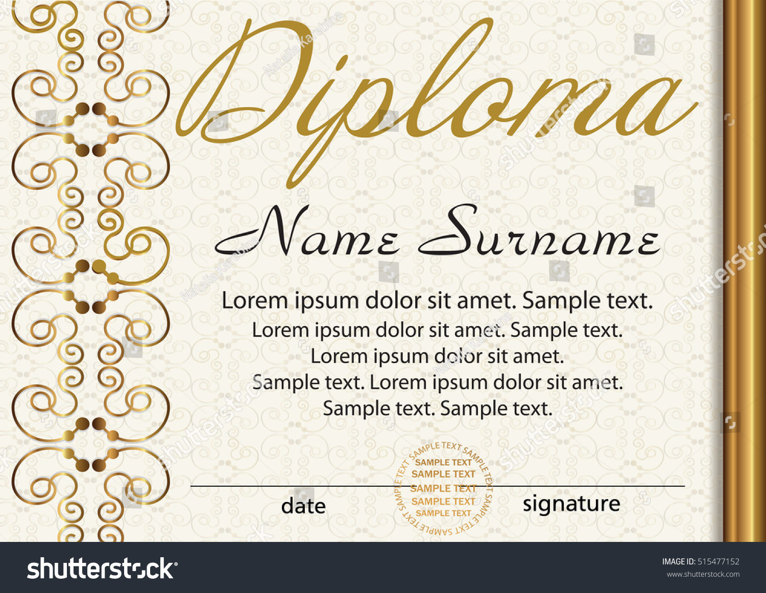 Diploma certificate template award winner reward stock vector diploma or certificate template award winner reward winning the competition elegant gold xflitez Image collections