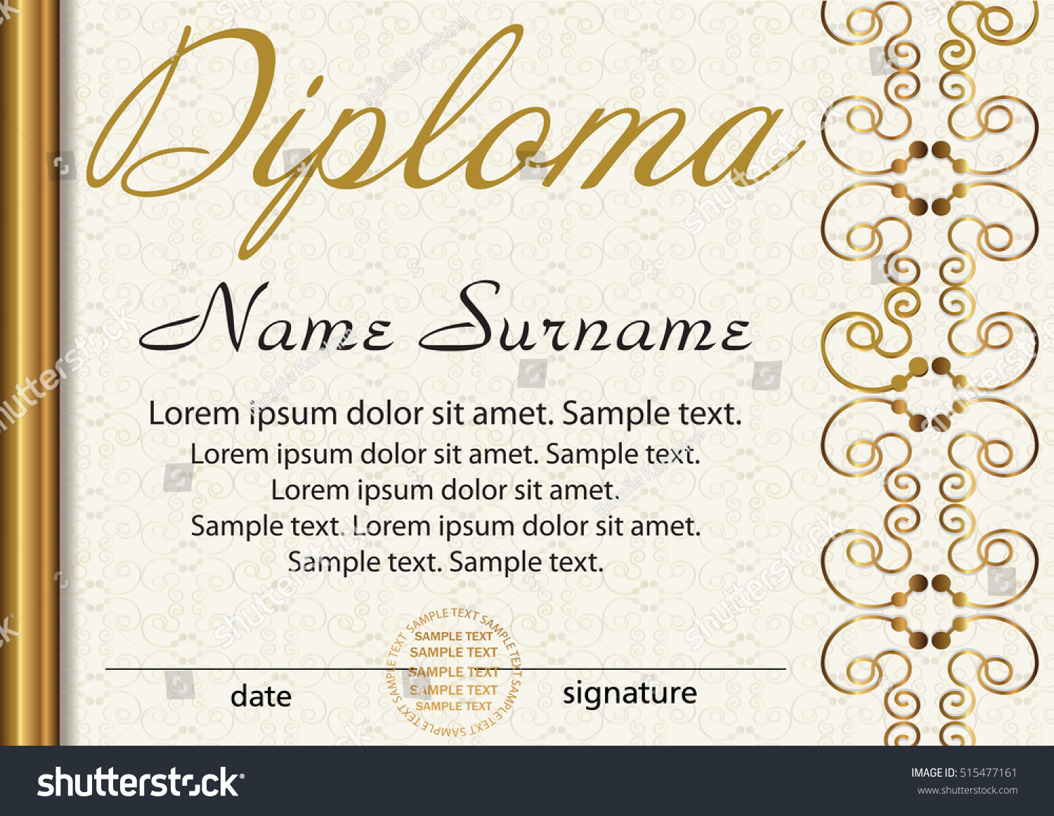 Diploma certificate template award winner reward stock vector diploma or certificate template award winner reward winning the competition elegant gold yadclub