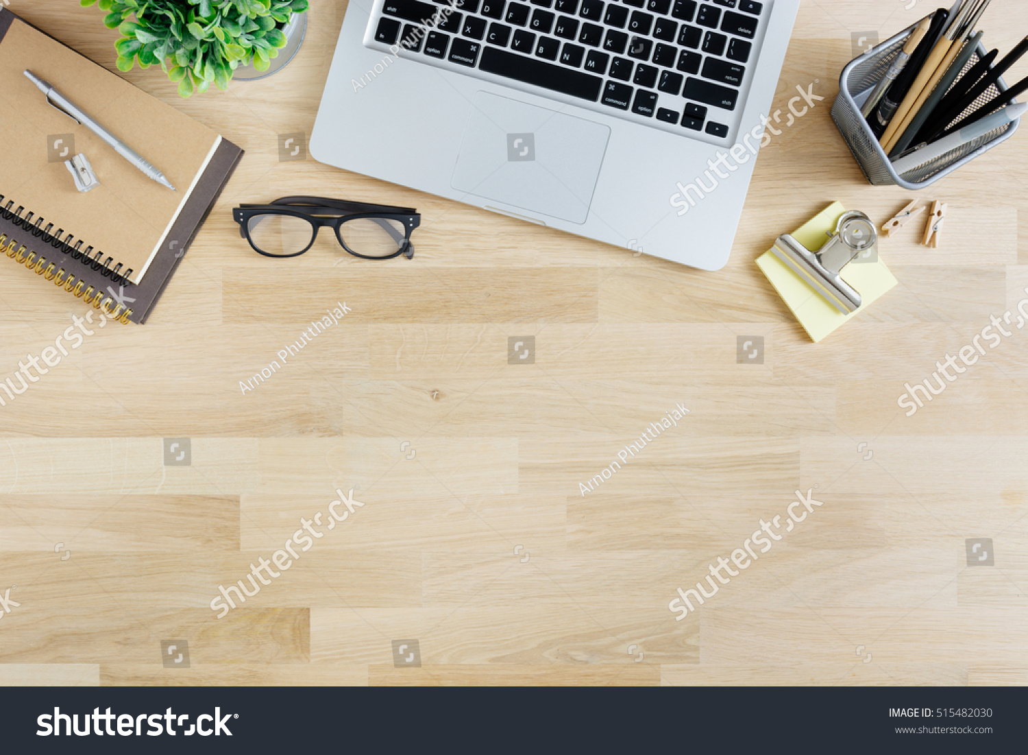 Office Desk Table Laptop Supplies Tablet Stock Photo ...