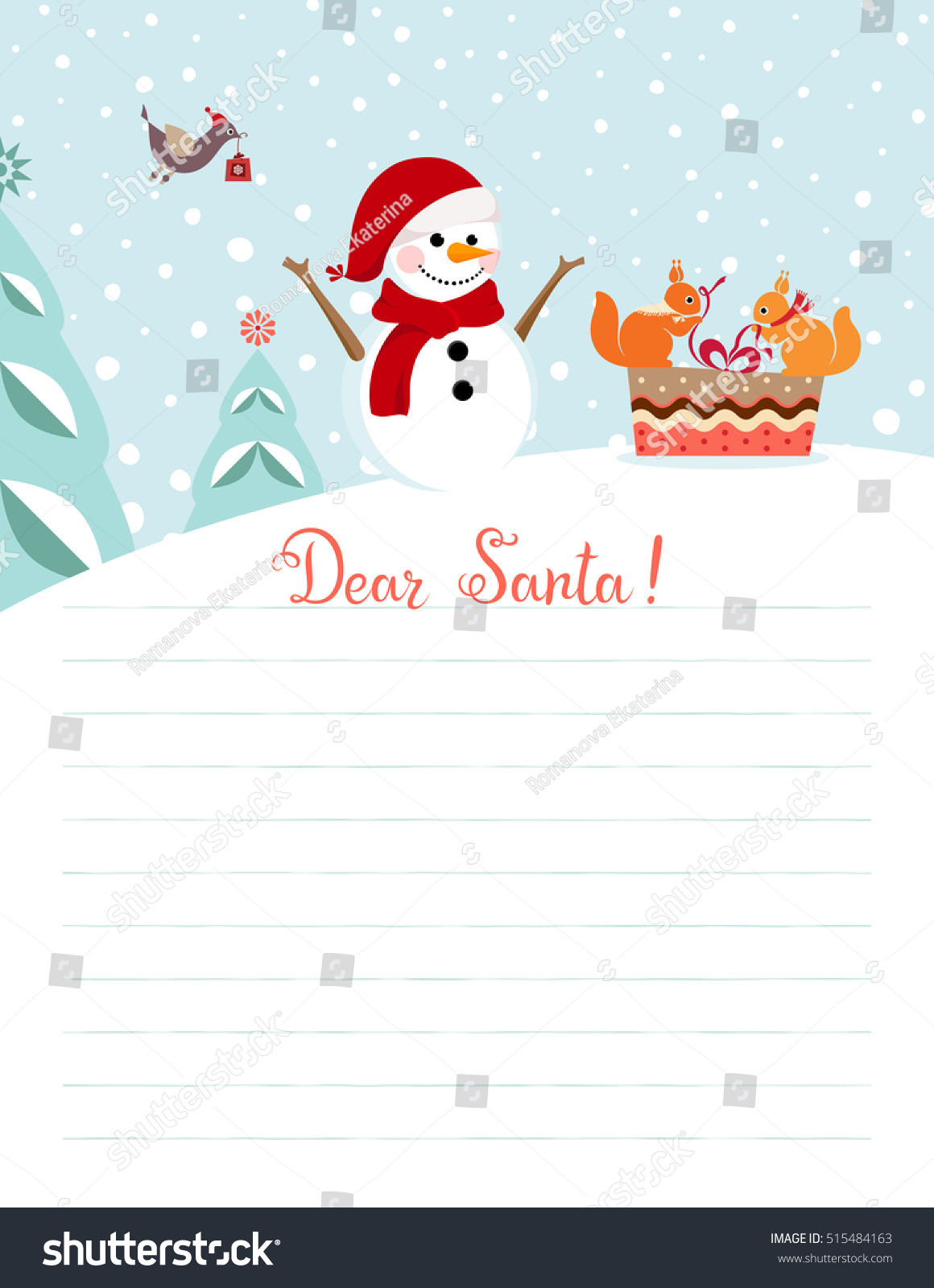 Template Christmas Letter Santa Claus Use Stock Vector