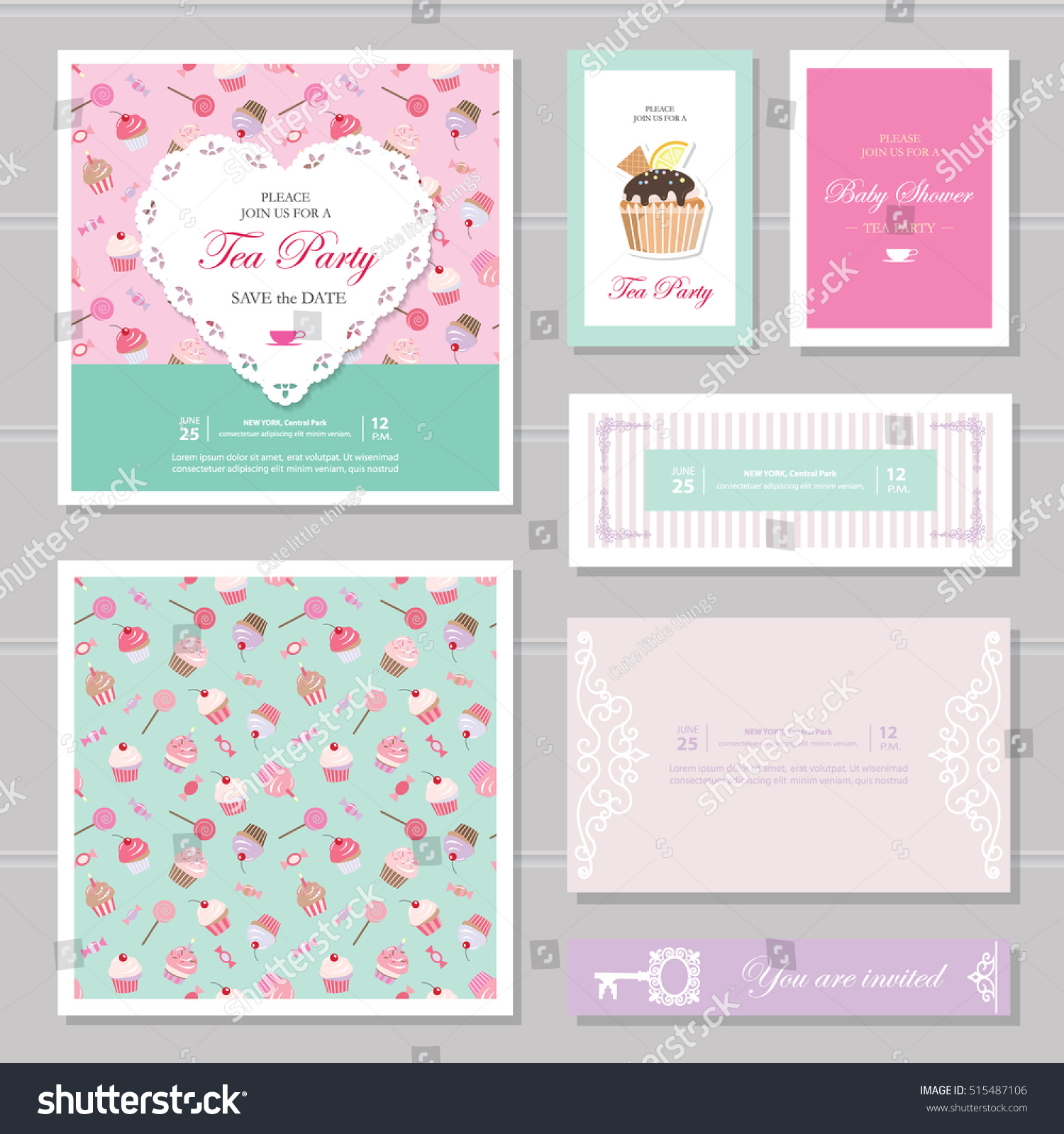 Cute card templates set in pastel colors. For tea party invitation ...