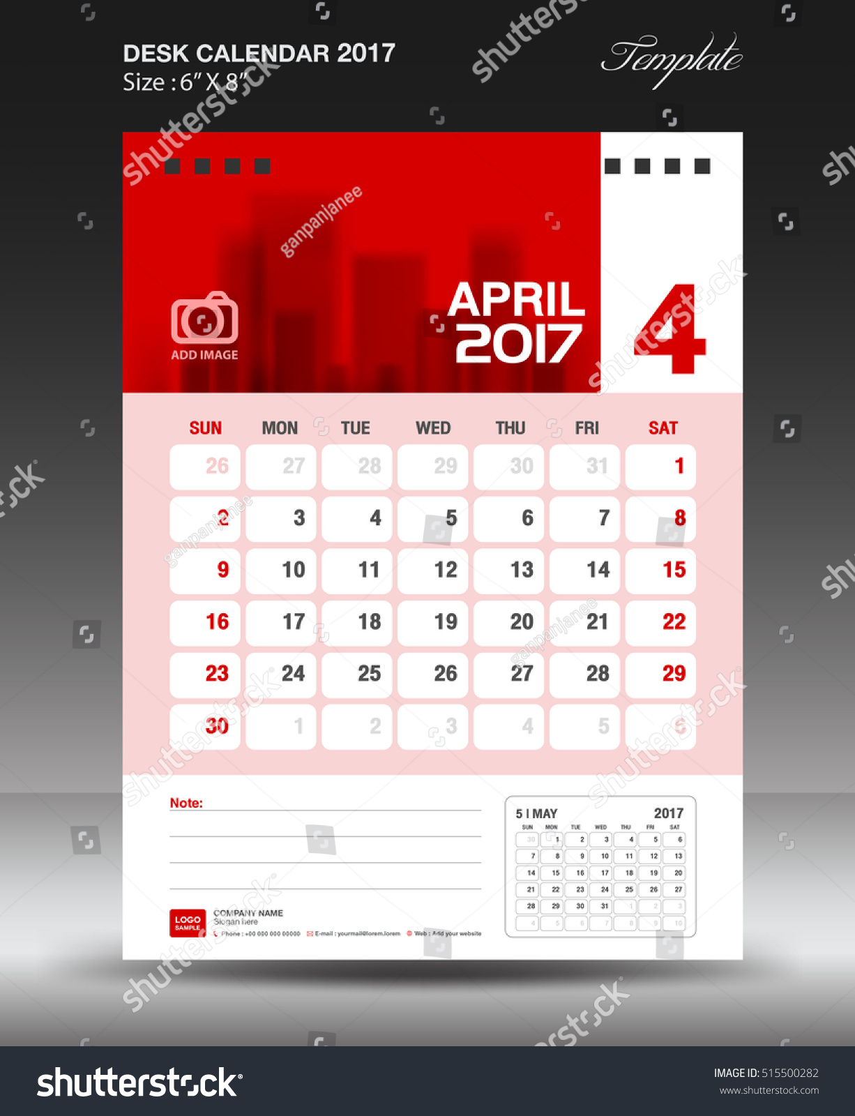 Table Calendar Size : April desk calendar year corporate business flyer