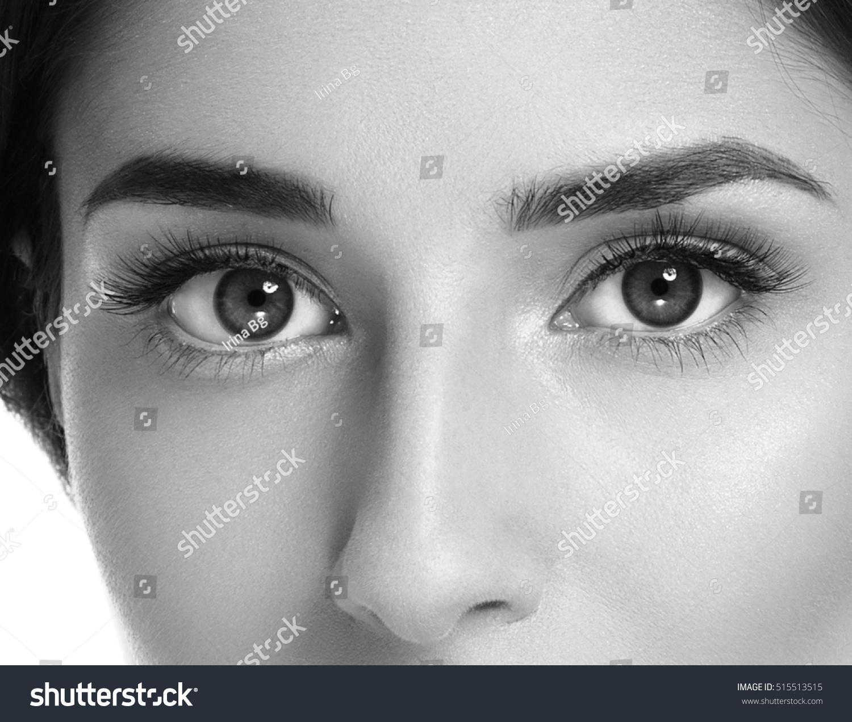 Woman Eyes Closeup Black White Stock Photo 515513515
