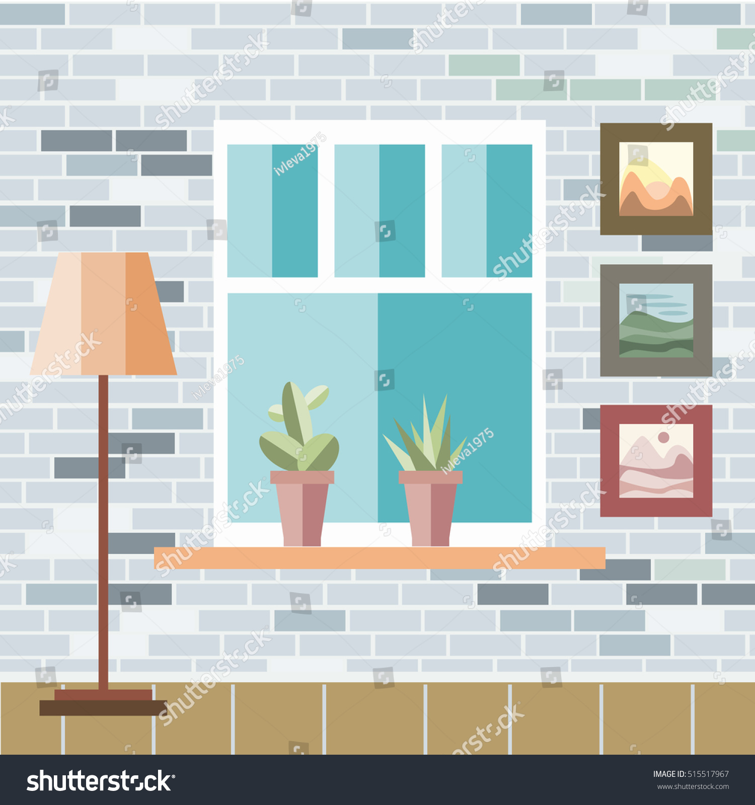 Interior Of A Living Room In Flat Style. Home Room With Brick Wall. Vector
