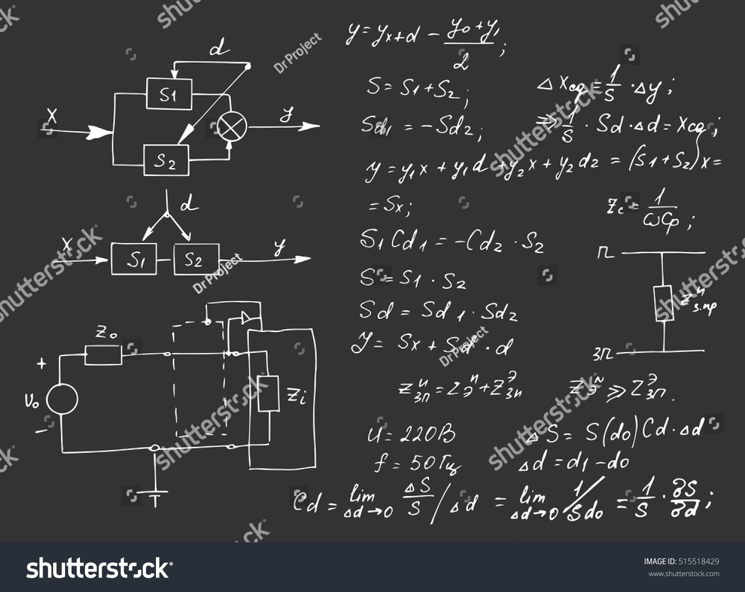 Physics Electronic Engineering Mathematics Equation Calculations Circuit Diagram Notation On Symbols Stock Vector And Endless Hand Writing School