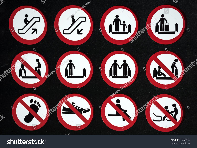 Royalty free escalator warning signs and symbols 515520163 stock escalator warning signs and symbols pictogram icons 515520163 biocorpaavc
