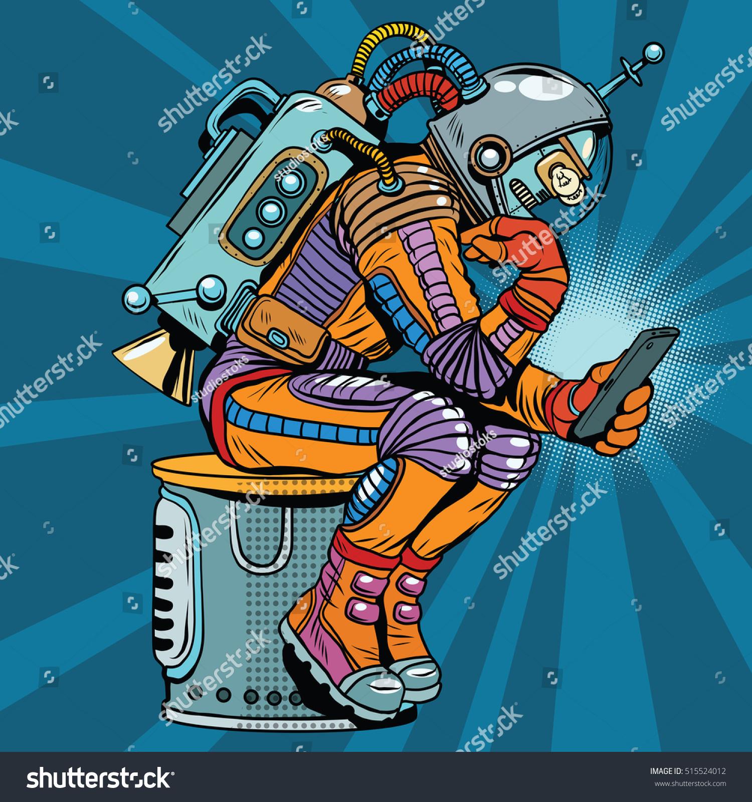 Vintage Sci Fi Illustrations Retro Science Fiction: Retro Robot Astronaut Thinker Pose Reads Stock Vector