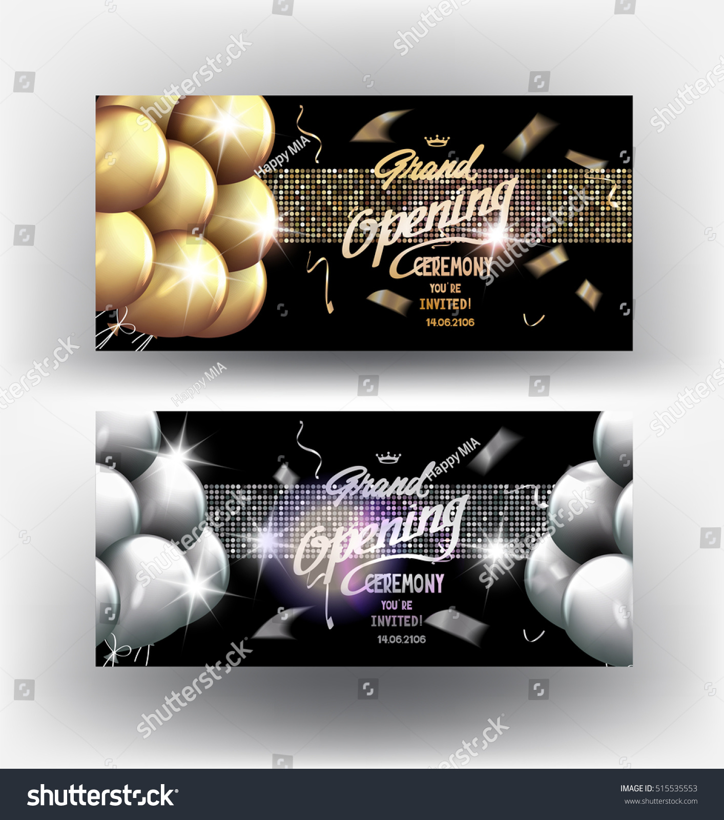Grand opening gold silver elegant banners stock vector 515535553 grand opening gold and silver elegant banners with sparkling ribbons air balloons and confetti biocorpaavc Choice Image