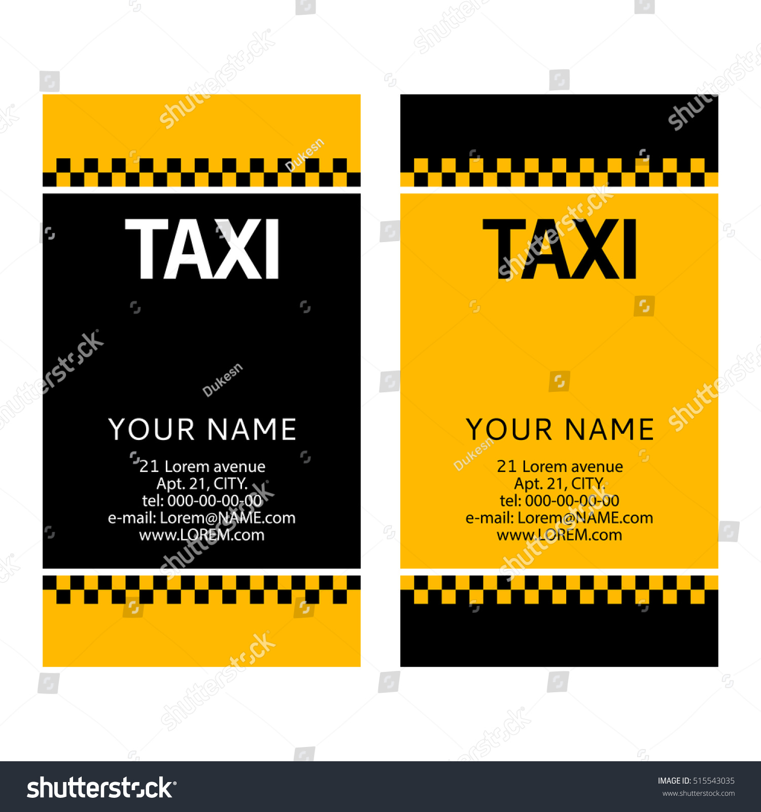 Business Card Service City Taxi Concept Stock Vector (2018 ...