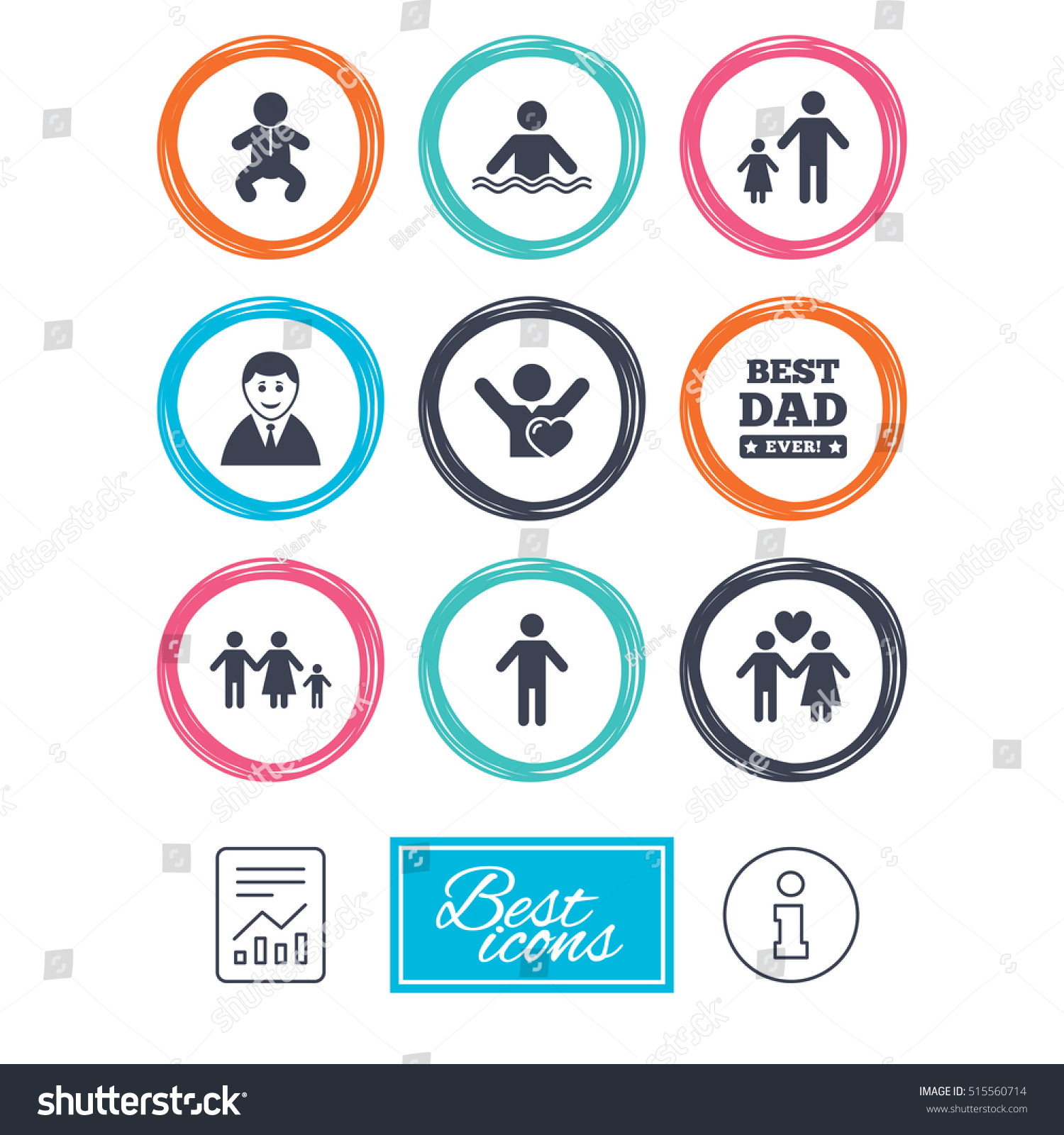 People Family Icons Swimming Pool Love Stock Vector Royalty Free