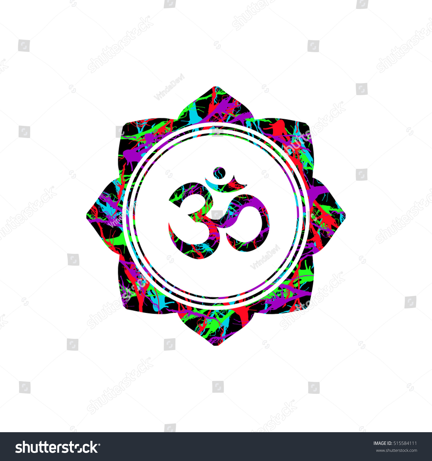 Om sign lotus flower vector buddhist stock vector royalty free om sign in lotus flower vector buddhist religious sacred symbol om and lotus illustration izmirmasajfo
