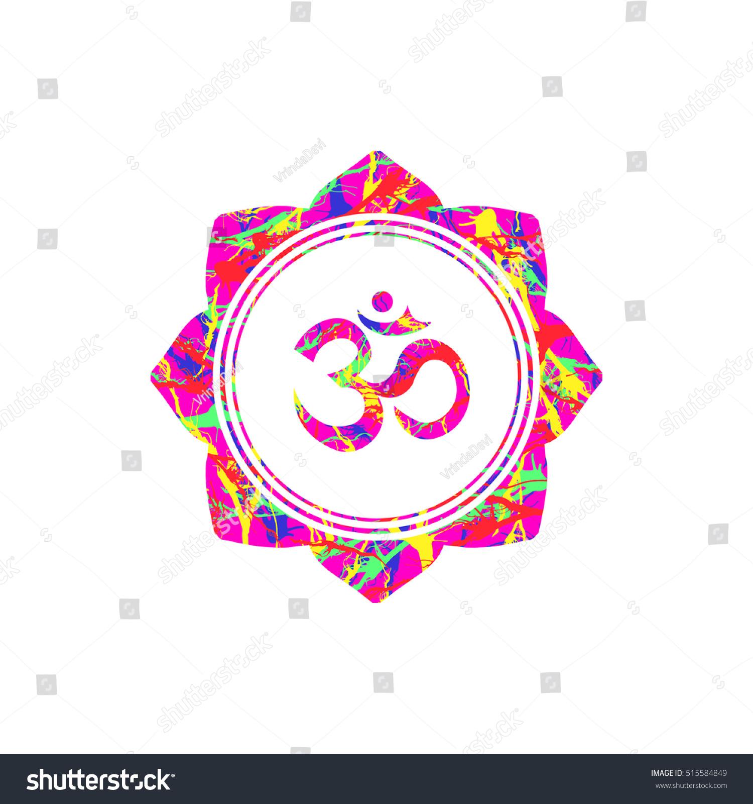 Om Sign Lotus Flower Vector Buddhist Stock Vector 515584849