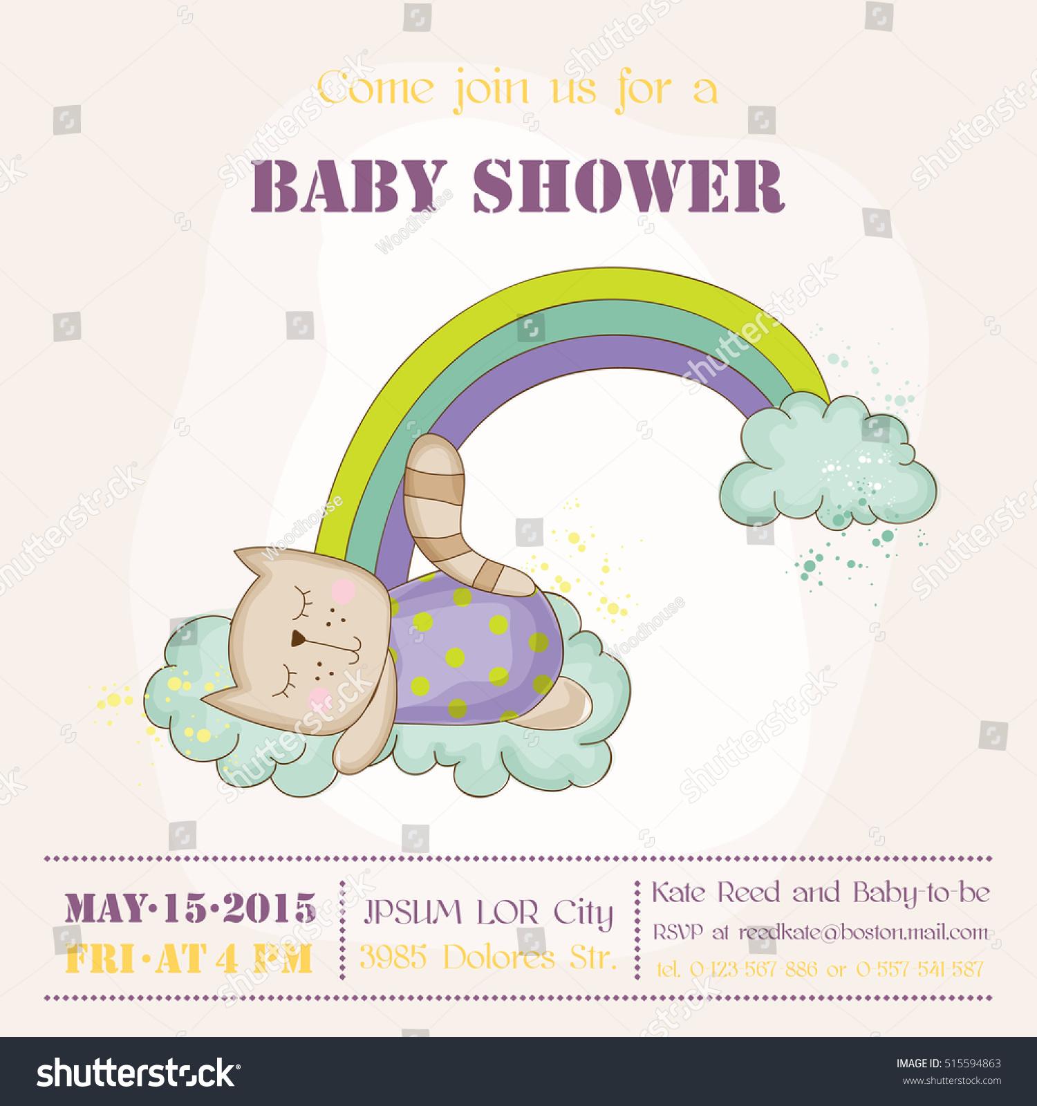 Cute Cat Sleeping Rainbow Baby Stock Vector
