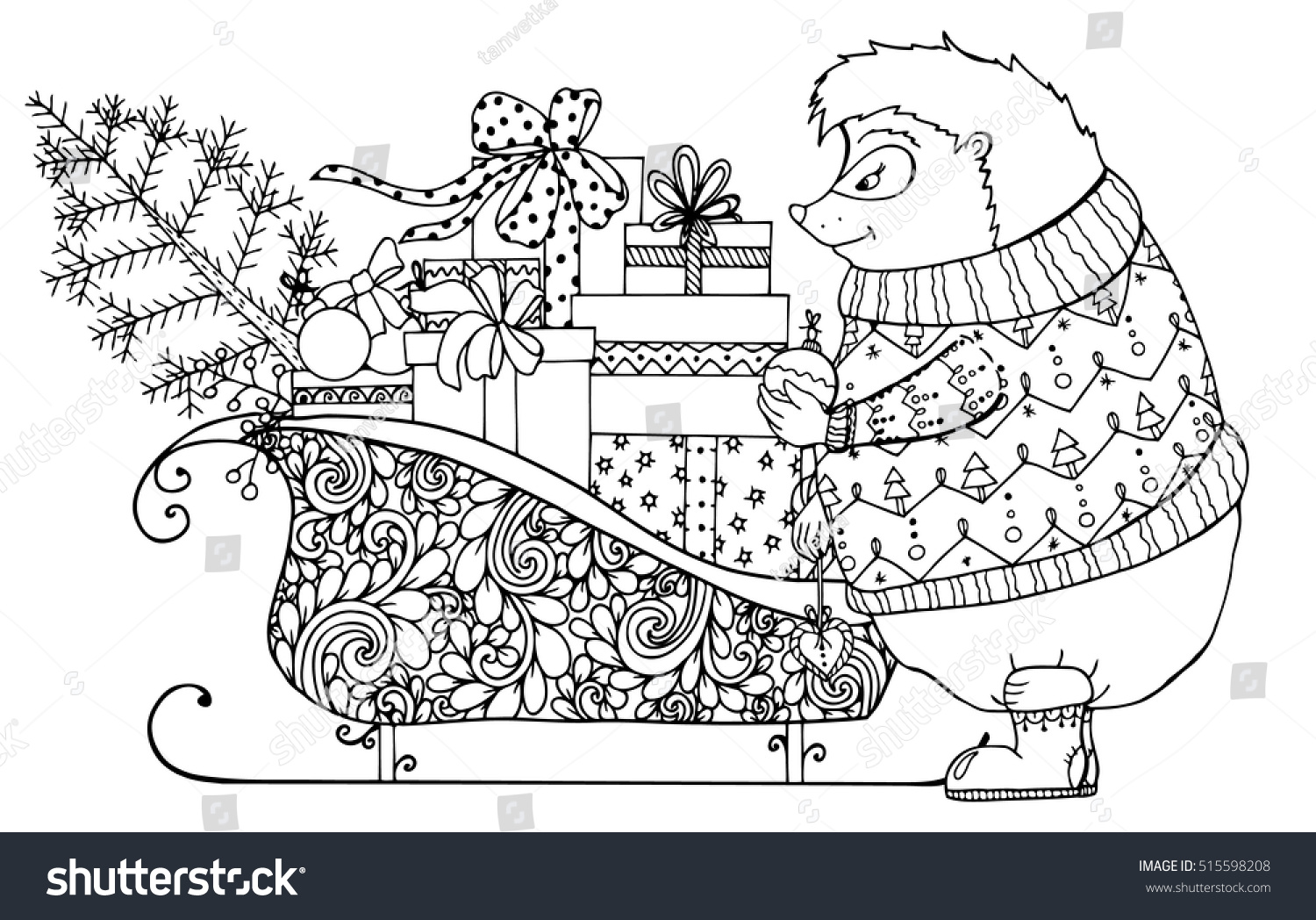 vector christmas illustration hedgehog sledges gifts stock vector