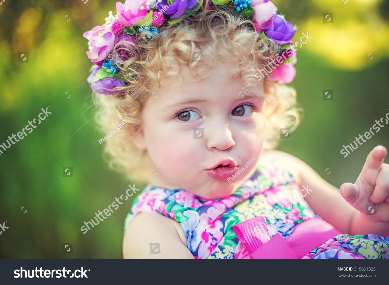 image sweet baby girl wreath flowers stock photo (royalty free