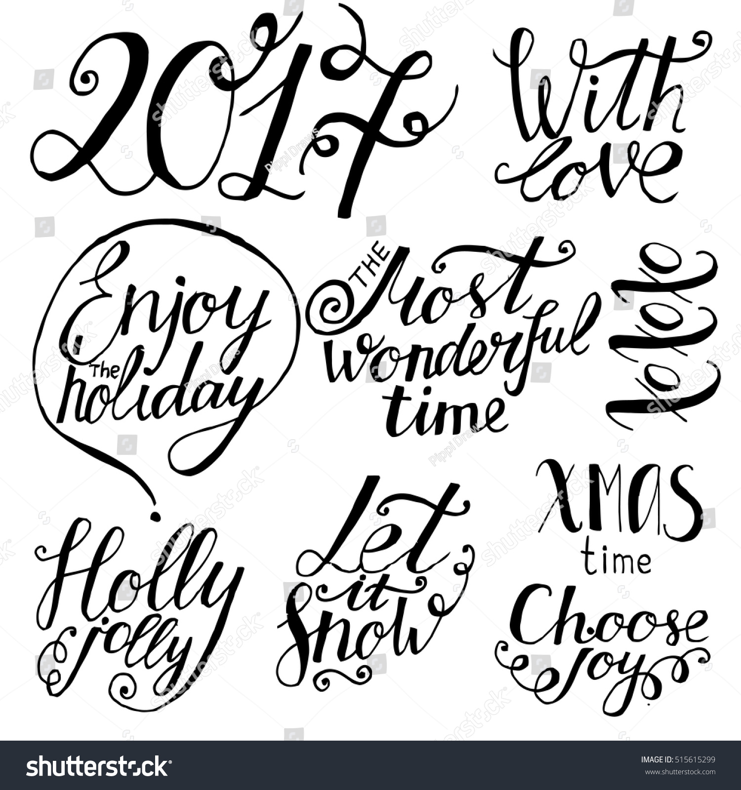 set of hand drawn holiday lettering christmas and new year phrases
