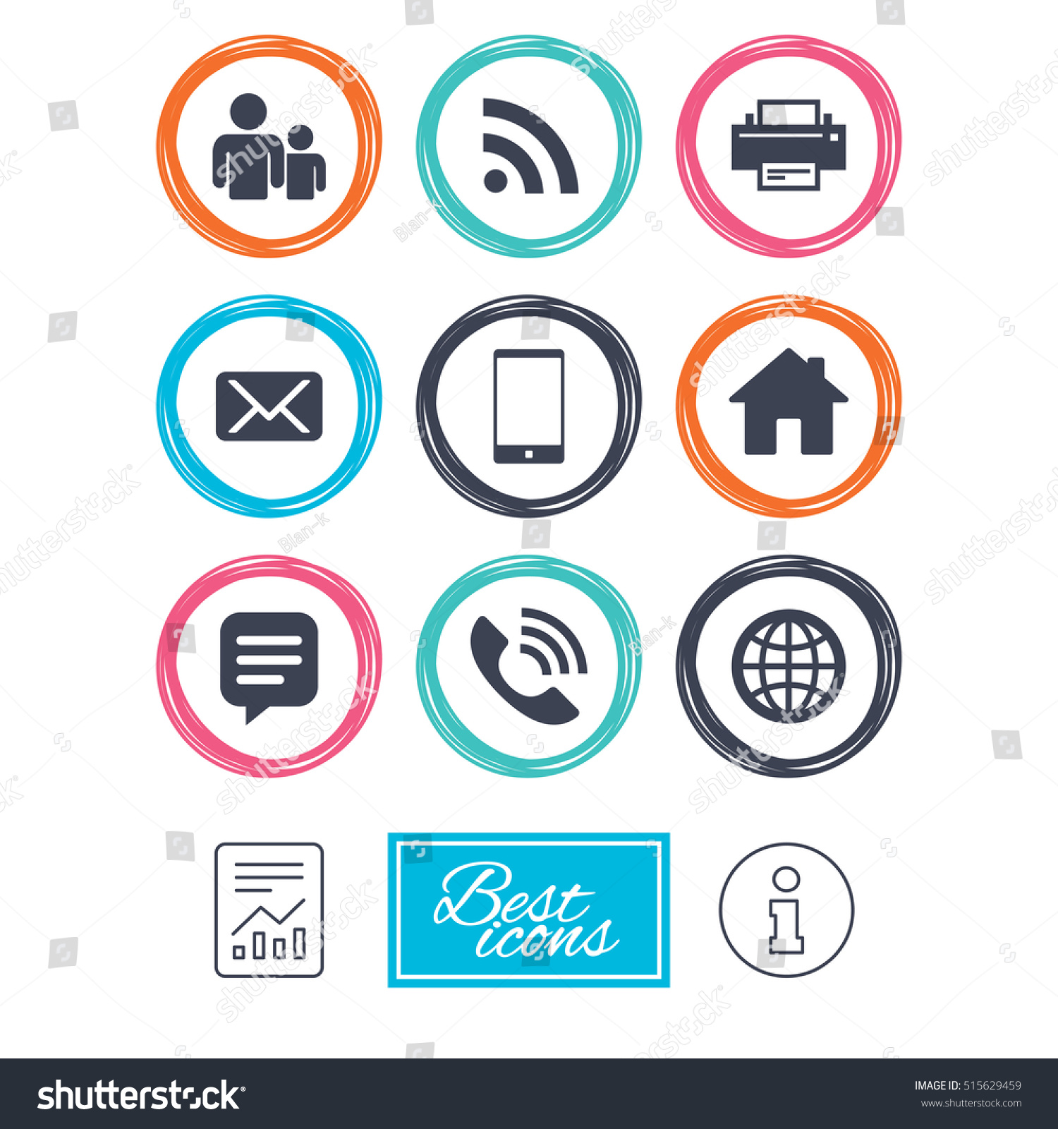 Contact Mail Icons Communication Signs Email Stock Vector 2018