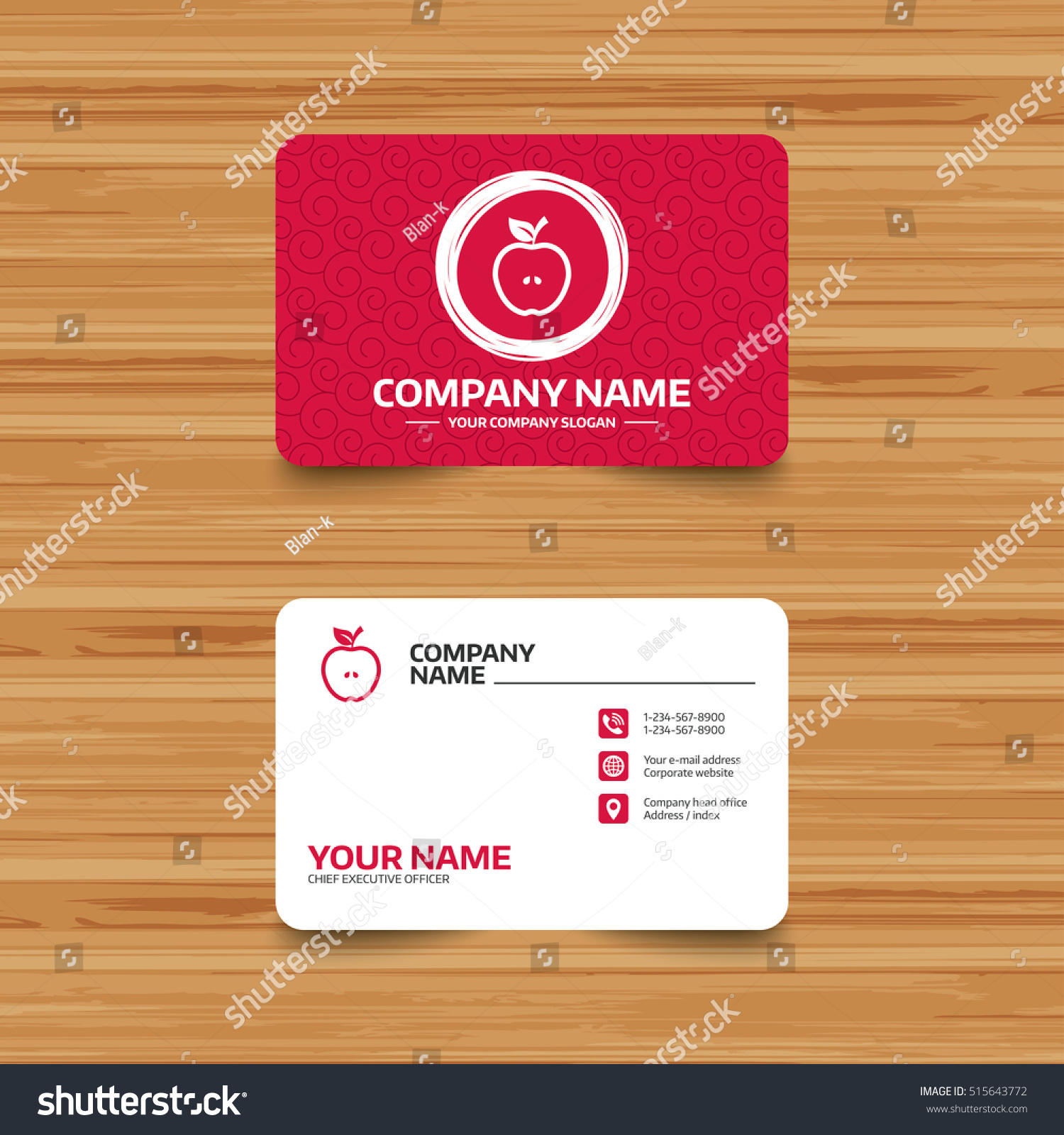 Business card template texture apple sign stock vector 515643772 business card template with texture apple sign icon fruit with leaf symbol phone reheart