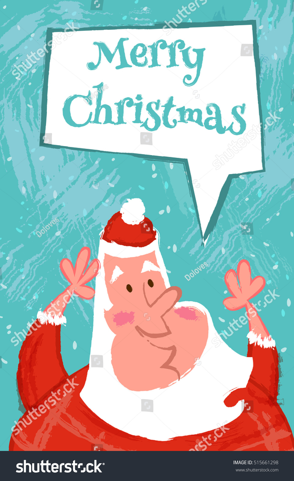 funny merry christmas card with happy santa claus vector cartoon illustration in hand draw style - Funny Merry Christmas Greetings
