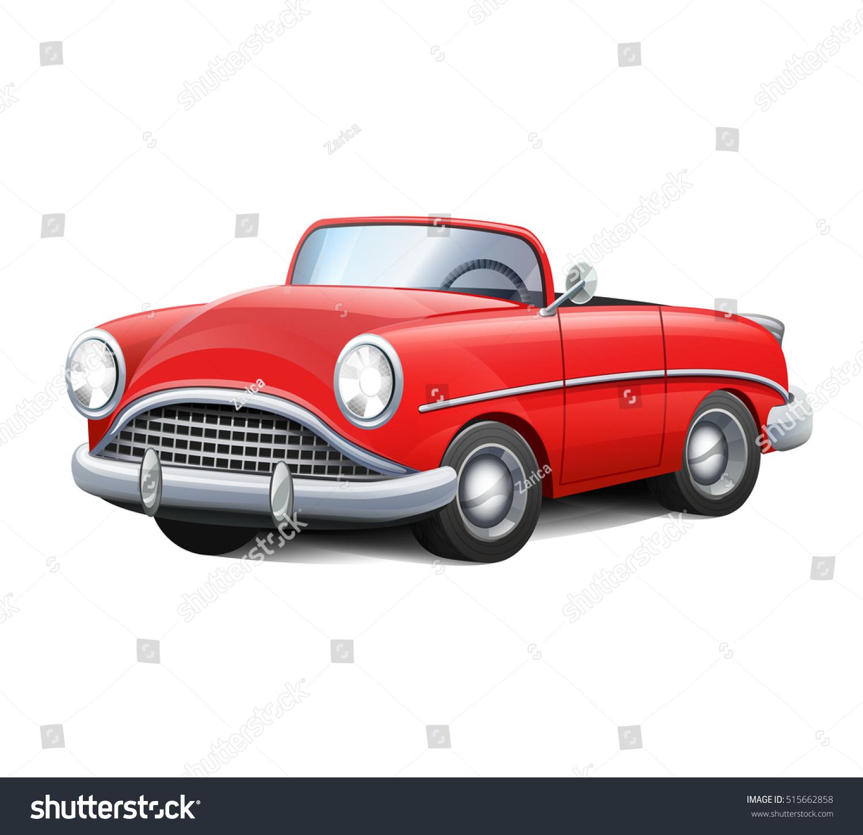 Vector Illustration Retro Car Red Convertible Stock Vector Royalty Free 515662858