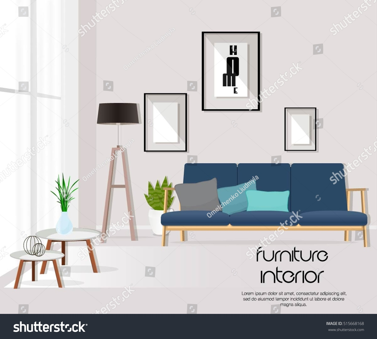 Furniture. Interior. Living room with sofa, table, lamp, pictures, window. Vector.