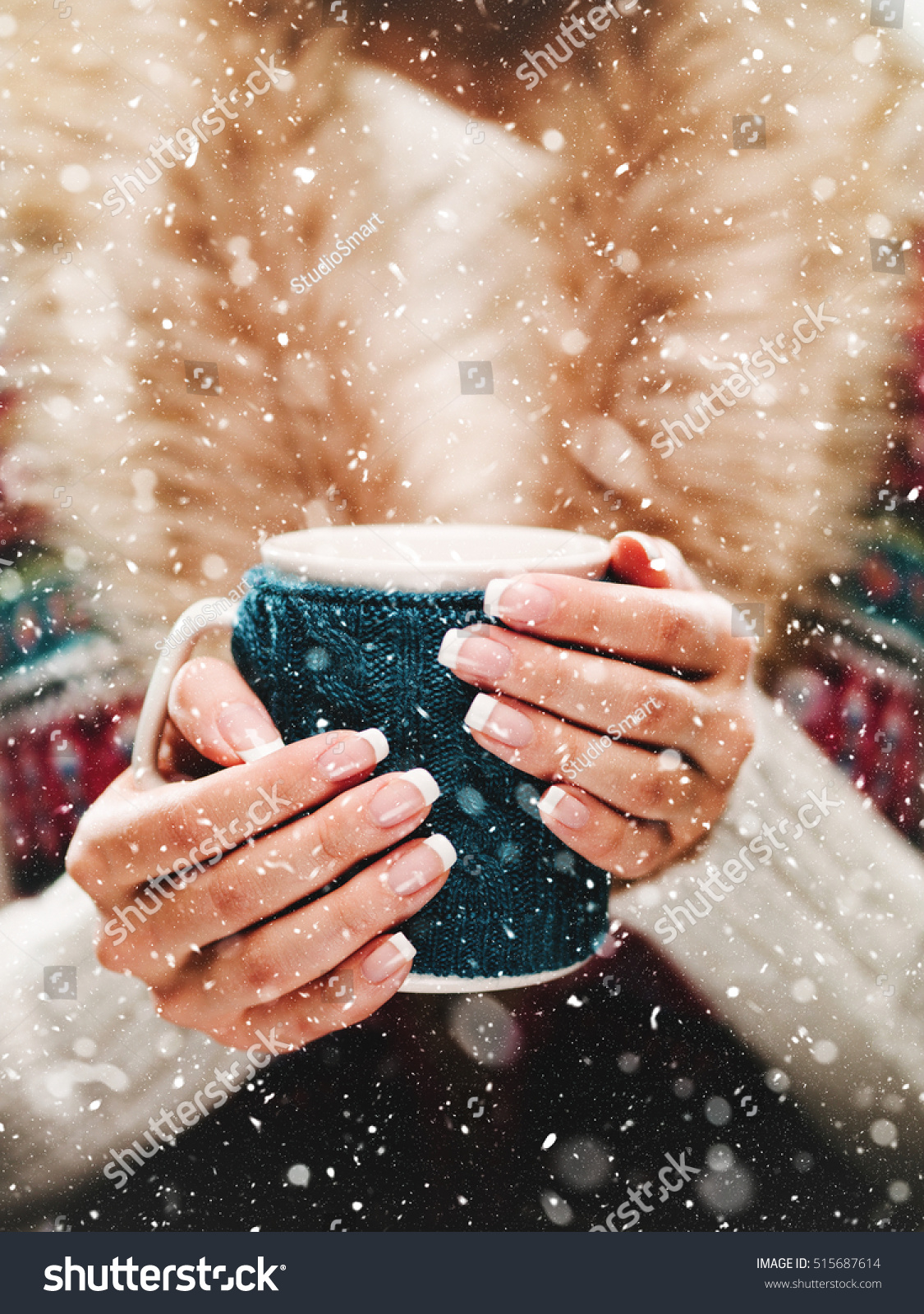 Woman Holds Winter Cup Close Up Stock Photo Edit Now 515687614