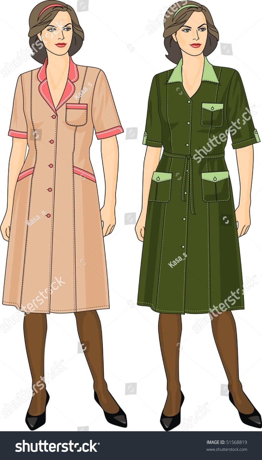 Woman Dressing Gown Short Sleeves Pockets Stock Vector HD (Royalty ...