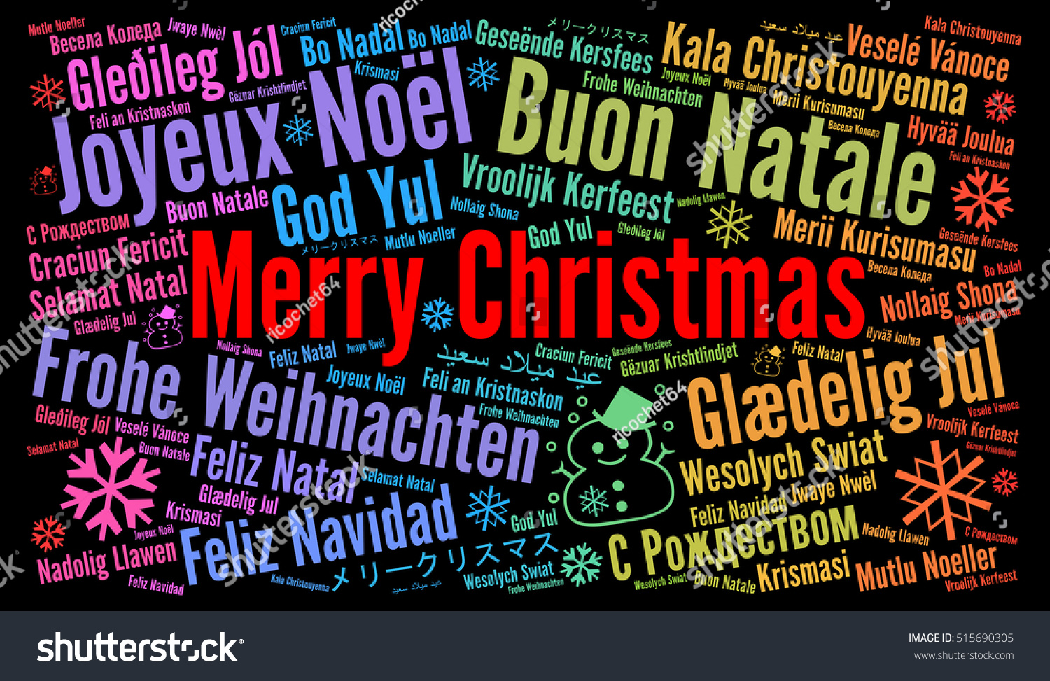 Merry Christmas Different Languages.Merry Christmas Different Languages Word Cloud Stock
