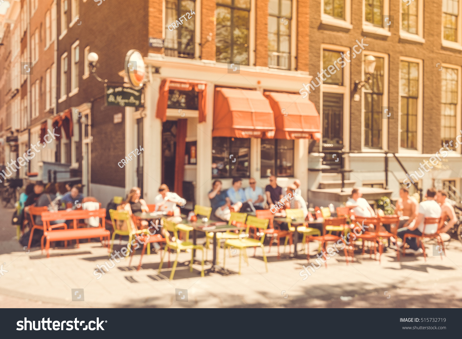 Blurred Abstract Background Outdoor Cafe Amsterdam Stock Photo Edit Now 515732719