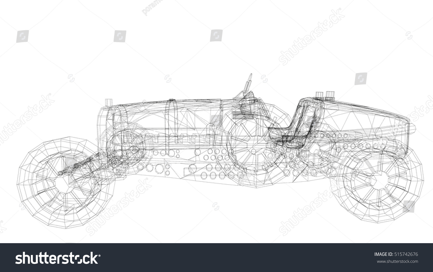 Car Old Model Body Structure Wire Stock Illustration 515742676 ...