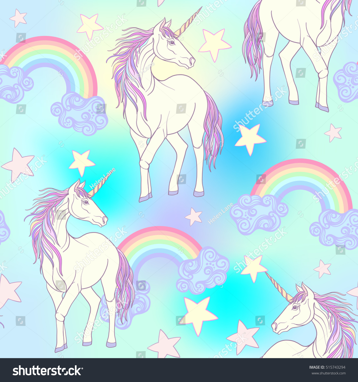 - Seamless Pattern Unicorn Color Pink Purple Stock Vector (Royalty